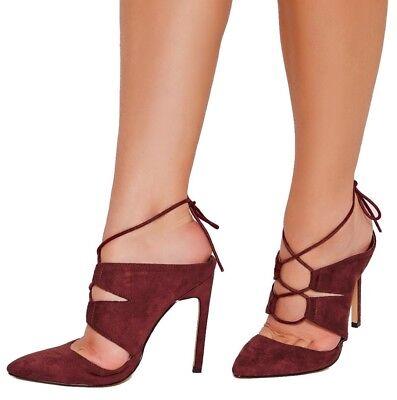 Missguided con Cordones Tribunal mulas Borgoña Mujer Zapatos Imitación Gamuza f1603068