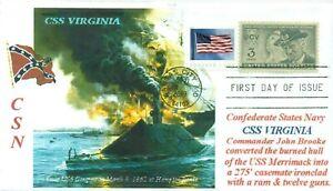 Css-Virginia-Confederado-Ironclad-Gunboat-Guerra-Civil-Barco-Naval-Funda-Primer