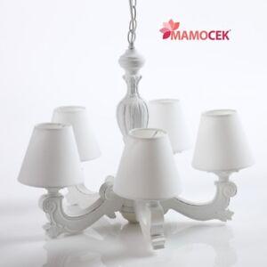 LAMPADARIO-in-legno-BIANCO-5-bracci-paralume-lampada-sospensione-soffitto-Shabby