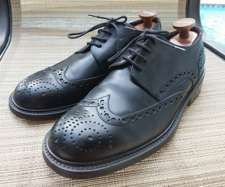 Di Crisci Mens Wingtip schuhe schwarz Leather Handmade Italian. USA Sz 9.5. Eu 42.5