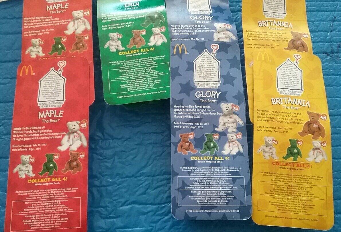 McDonald's (7) 1996-98 Complete McDonald's House Beanie Babies Babies Babies Set 4 TY Bears 9962ee