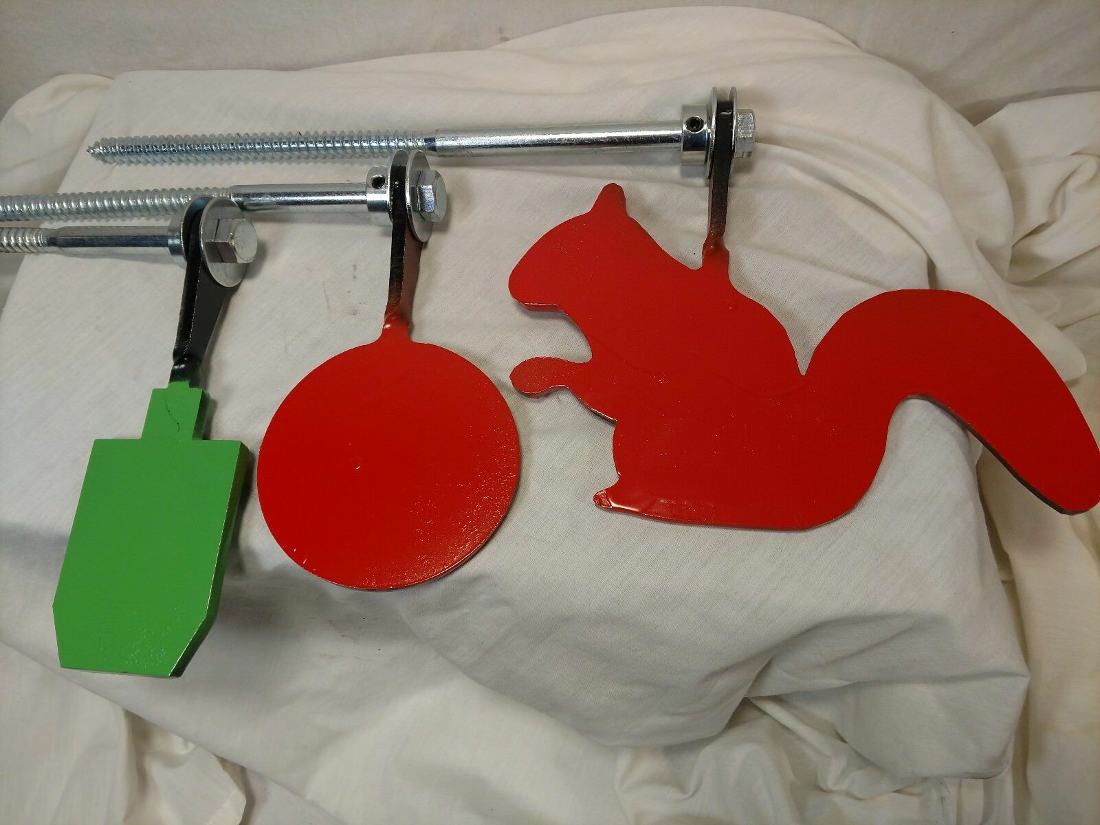Set of 3 Spinning targets Squirrel, 4  round & Small Torso EZ setup in tree post