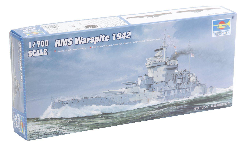 Trumpeter 05795 HMS Battleship Warspite 1942 Destroyer Plastic Model 1 700 Scale