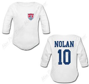 9a5bd235d0741 Body Bébé Football Maillot USA personnalisé avec prénom et numéro de ...