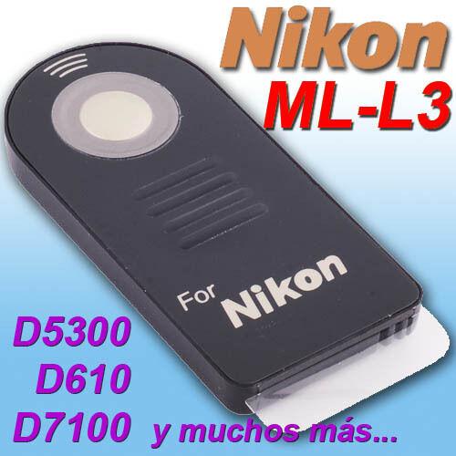Mando Compatible NIKON ML-L3 ★D3400 d7500 D610 D5200 P6000 D5300 D5100 D3200