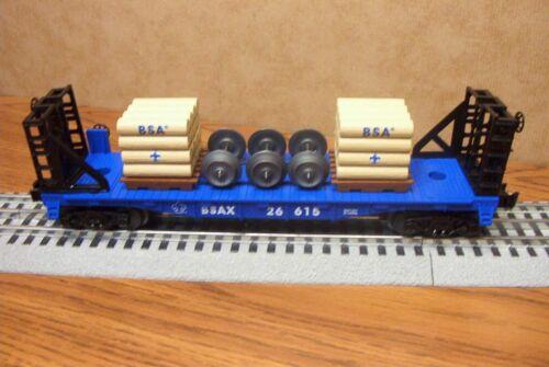 LIONEL TRAINS BOY SCOUTS OF AMERICA BULKHEAD FLATCAR w/ LOAD #26615 O GAUGE