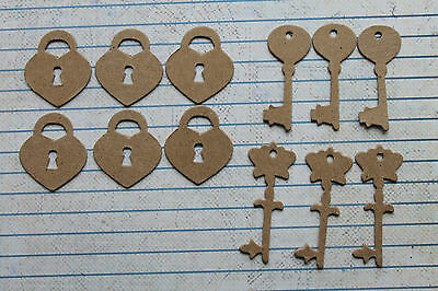 6 Mini Heart Lock and 6 Mini Key Shaped Bare chipboard die cuts Die cuts