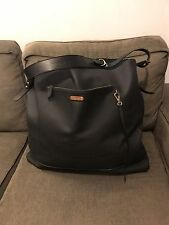 Ralph Lauren Purple Label XL Black Pebbled Leather Tote Shoulder Bag Huge Purse
