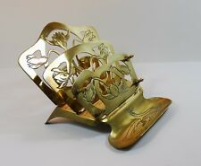 Vintage Brass Art Nouveau Letter /Stationery Rack with Pen Holder - Folds Down
