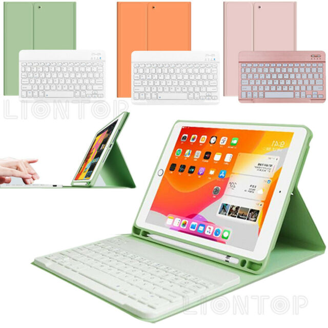 For iPad 7th Gen 10.2 2019 2in1 Keyboard + PU Leather Case Cover with Pen Slots