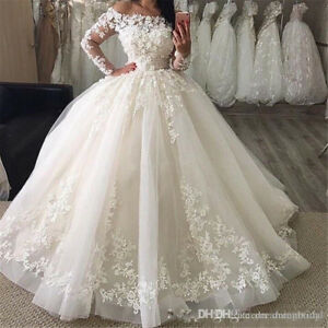 Modern Wedding Dresses.Details About Off Shoulder Modern Lace Ball Gowns Ivory Wedding Dress Long Sleeve Bridal Dress