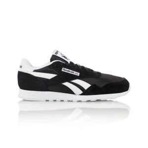 Reebok-Royal-Nylon-Men-039-s-shoe-Black-White