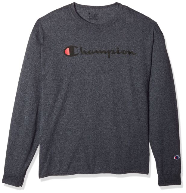 a95154af Champion Men's Classic Jersey Long Sleeve Script T-Shirt Charcoal Heather  Large