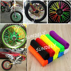72x MOTOCROSS MX ENDURO WHEEL RIM SPOKE SHROUDS WRAPS SKINS COVERS ALL COLOURS