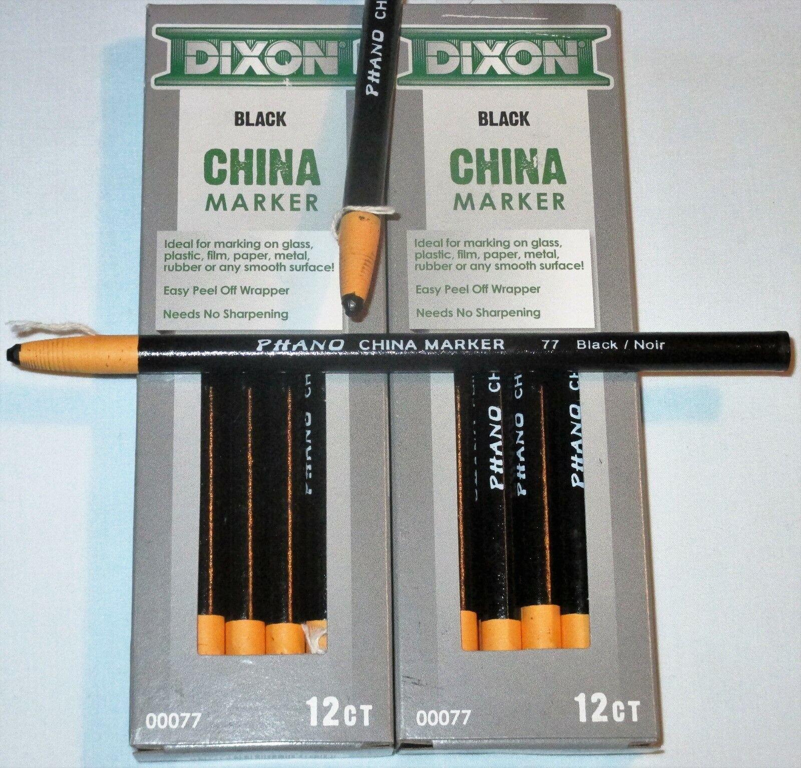 Dixon China Marker Black Wax Pencils Peel Off Wrapper 12ct