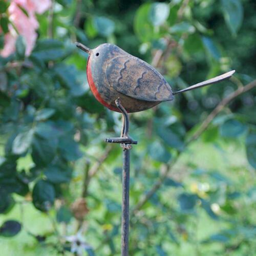 TIN Robin sul rogo-Decorazione giardino esterni in metallo Bird Ornamenti-ASCALONA