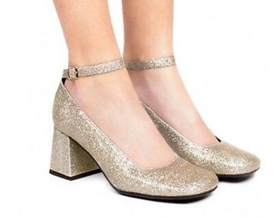 New Women's Glittery Mary Janes-Jeffrey Campbell-Sweet Jane-Silver Gold-US 8