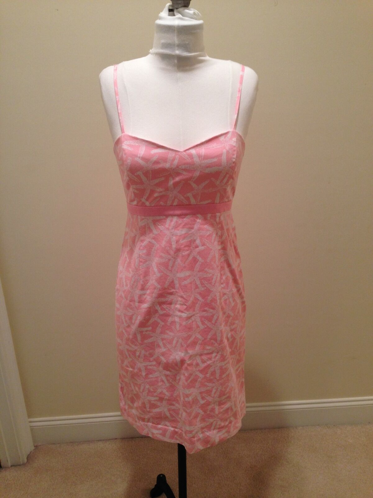Vineyard Vines Pink and White Starfish Print Cotton Spaghetti Strap Dress Size 6
