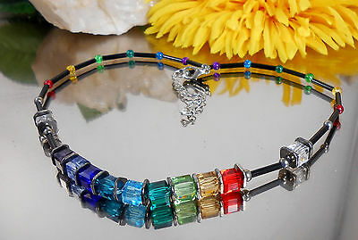 Gutherzig Apartes Design Collier Geschliffene Glas Würfel In Schwarz Multicolor Modeschmuck