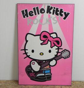 Poster di hello kitty su tavola di legno mdf 61x91 quadro stampa