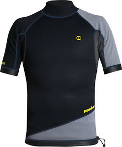 Blk/Gry - Nookie Ti Vest Short Sleeve-1mm Neo Top-Kayak/Surf<wbr/>/SUP/Wetsuit Jacket