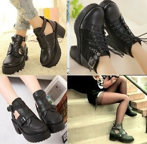 Chelsea-Chunky-Heel-Cut-Out-Buckle-Lace-up-Platform-PU-Leather-Ankle-Croc-Boots