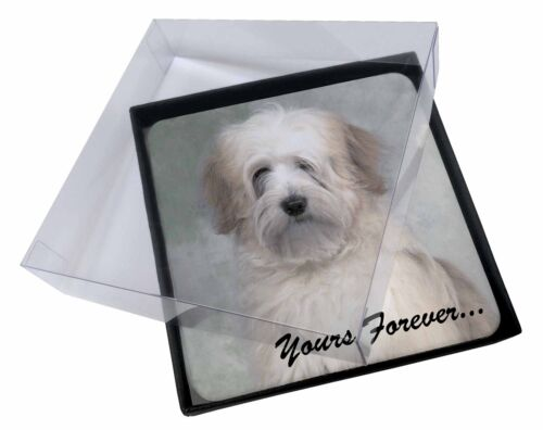 4x Tibetan Terrier 'Yours Forever' Picture Table Coasters Set in Gift , ADTT1yC
