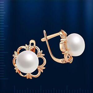 Ohrringe-mit-Perlen-Suesswasser-russische-Rose-Rotgold-585-Blume-Neu-Glaenzend