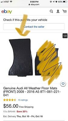 Genuiene Audi Accessories 8T1061221041 Black Front All-Weather Floor Mat for Audi A5 Coupe//Cabriolet