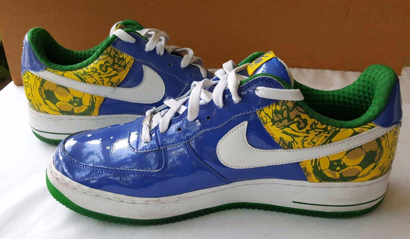 Nike Air Force 2006  Premium RONALDINHO BRAZIL BLUE GREEN WHITE YELLOW size 11.5