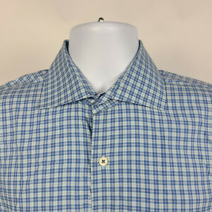 Peter Millar Blue Check Plaid Mens Dress Button Shirt Size Medium M