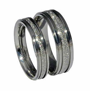 MALE FEMALE SPARKLEBLAST 6MM 4MM SPARKLE WEDDING RING BAND FROST