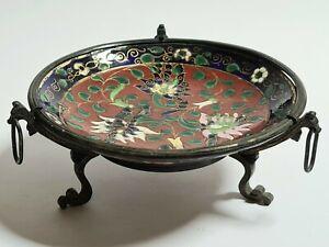 Coupelle Terre cuite émaillée Monture Laiton noirci décor Fleurs Chine Japon 19e