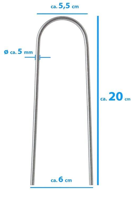 100 picchetti, aringhe ACCIAIO ZINCATO 20 x 6 cm Ø 5 mm