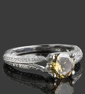 Solitaire-1-46Ct-Champagne-Rond-Anneau-Fiancailles-Diamant-14k-or-Micro-Pave-Set