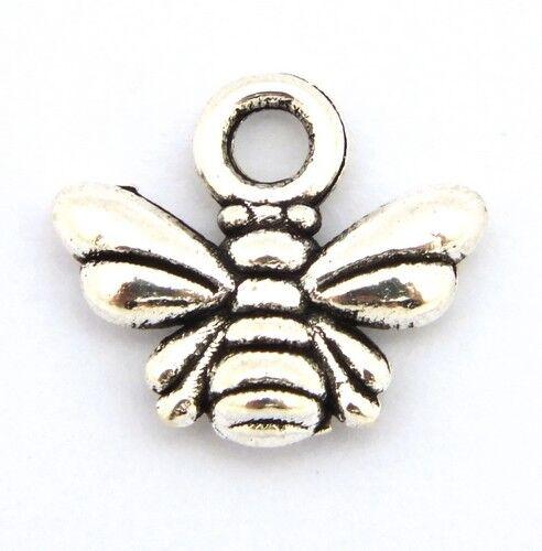 11 x 10 mm plata 1 abeja de metal colgantes aprox