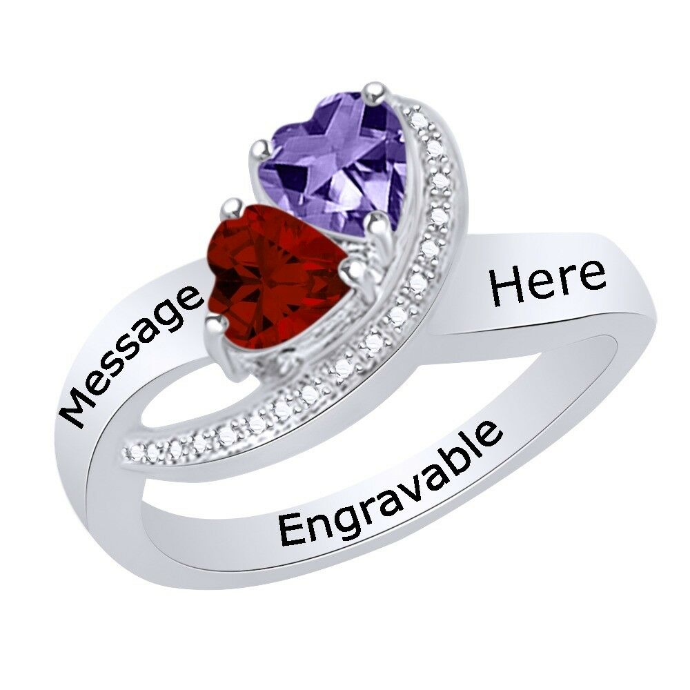 Multi-Gemstone Personalize Engravable Heart Ring  Sterling