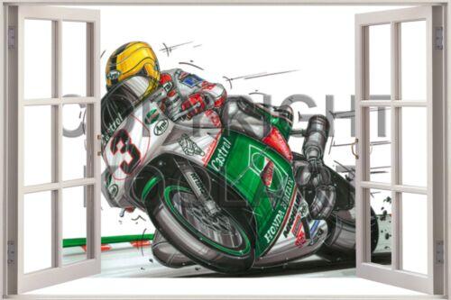 Huge 3D Koolart Window view Honda Joey Dunlop Wall Sticker Poster 957