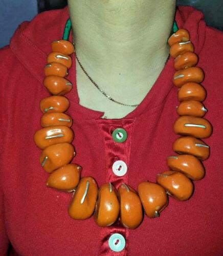 Moroccan Berber Amber Necklace Ethnic Tribal Pendant Beads Handmade metal insert