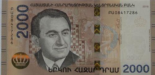 Armenia 2018 2000 dram banknote UNC Hybrid Technology Chess player T Petrossian