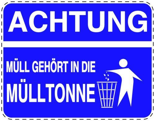 2x Müll Aufkleber Abfall Entsorgung Hinweisschild wetterfest viele Designs