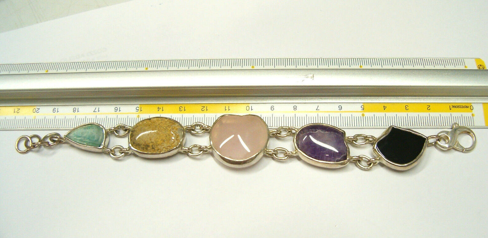 Bracciale in argentoo 925 con Pietre Dure naturali naturali naturali - Ametista Quarzo rosa Agata cd63ec