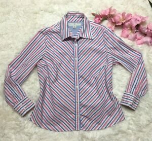 Tommy-Hilfiger-Womens-Striped-Button-Down-Long-Sleeve-Shirt-Size-Petite-L-Large