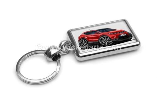RetroArtz Cartoon Car Nissan Qashqai 2014+ SUV in Red Premium Metal Key Ring