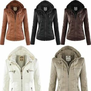 Womens-Leather-Hooded-Jacket-Slim-Parka-Coat-Overcoat-Trench-Warm-Winter-Outwear