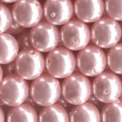 Blush Pink Colour 4mm Round Czech Glass Pearl Polished Beads x 25