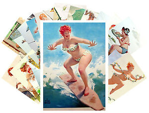 Postcards-Pack-24-cards-Hilda-Pinup-Girl-Sexy-Chubby-Redhead-Vintage-CD3017