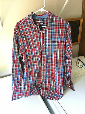 Ralph Lauren Chaps mens LARGE red plaid buttonfront