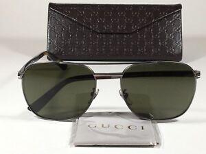 33f85c496c Image is loading New-Authentic-Gucci-Aviator-Pilot-Sunglasses -Gunmetal-Tortoise-