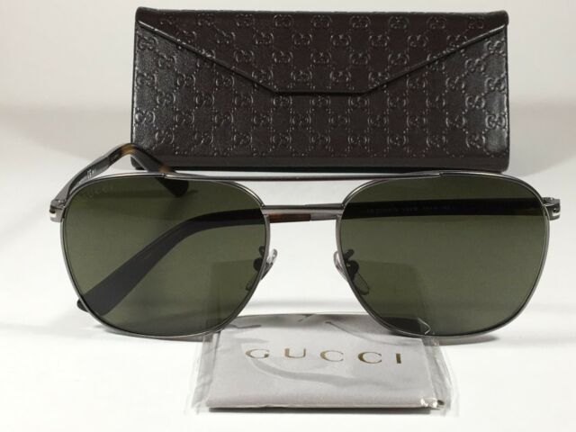 7d3b3b95b3 New Authentic Gucci Aviator Pilot Sunglasses Gunmetal Tortoise Green Lens  GG2270